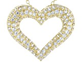 White Cubic Zirconia 18k Yellow Gold Over Sterling Silver Heart Pendant With Chain 2.22ctw