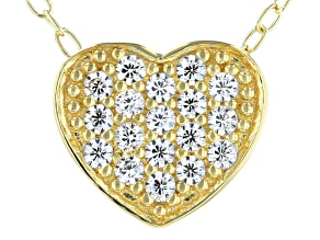 White Cubic Zirconia 18k Yellow Gold Over Sterling Silver Heart Pendant With Chain 0.28ctw