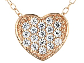 White Cubic Zirconia 18k Rose Gold Over Sterling Silver Heart Pendant With Chain 0.28ctw