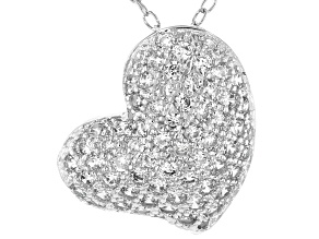 White Cubic Zirconia Rhodium Over Sterling Silver Heart Pendant With Chain 1.03ctw