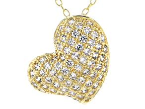 White Cubic Zirconia 18k Yellow Gold Over Sterling Silver Heart Pendant With Chain 1.03ctw