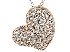 White Cubic Zirconia 18k Rose Gold Over Sterling Silver Heart Pendant With Chain 1.03ctw