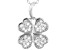 White Cubic Zirconia Rhodium Over Sterling Silver Four Leaf Clover Pendant With Chain 0.56ctw