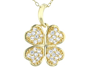 White Cubic Zirconia 18K Yellow Gold Over Silver Four Leaf Clover Pendant With Chain 0.56ctw