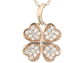 White Cubic Zirconia 18K Rose Gold Over Silver Four Leaf Clover Pendant With Chain 0.56ctw