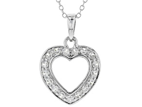 White Cubic Zirconia Rhodium Over Sterling Silver Heart Pendant With Chain 0.99ctw