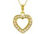 White Cubic Zirconia 18K Yellow Gold Over Sterling Silver Heart Pendant With Chain 0.99ctw