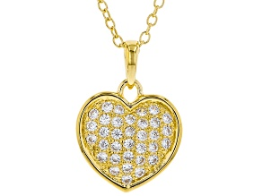 White Cubic Zirconia 18K Yellow Gold Over Sterling Silver Heart Pendant With Chain 0.54ctw