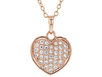 Picture of White Cubic Zirconia 18K Rose Gold Over Sterling Silver Heart Pendant With Chain 0.54ctw
