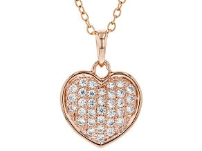White Cubic Zirconia 18K Rose Gold Over Sterling Silver Heart Pendant With Chain 0.54ctw