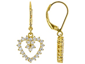 White Cubic Zirconia 18K Yellow Gold Over Sterling Silver Heart Earrings 1.24ctw