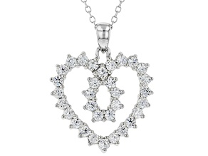 White Cubic Zirconia Rhodium Over Sterling Silver Heart Pendant With Chain 1.87ctw