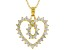 White Cubic Zirconia 18K Yellow Gold Over Sterling Silver Heart Pendant With Chain 1.87ctw