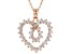 White Cubic Zirconia 18K Rose Gold Over Sterling Silver Heart Pendant With Chain 1.87ctw