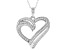 White Cubic Zirconia Rhodium Over Sterling Silver Heart Pendant With Chain 0.73ctw