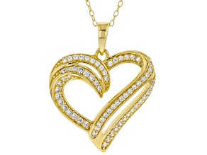 White Cubic Zirconia 18K Yellow Gold Over Sterling Silver Heart Pendant With Chain 0.73ctw