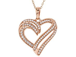 White Cubic Zirconia 18K Rose Gold Over Sterling Silver Heart Pendant With Chain 0.73ctw