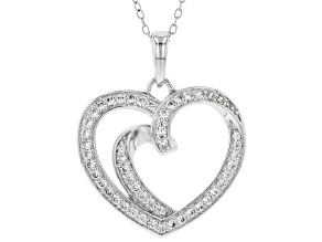 White Cubic Zirconia Rhodium Over Sterling Silver Heart Pendant With Chain 0.78ctw