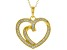 White Cubic Zirconia 18K Yellow Gold Over Sterling Silver Heart Pendant With Chain 0.78ctw
