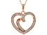 White Cubic Zirconia 18K Rose Gold Over Sterling Silver Heart Pendant With Chain 0.78ctw