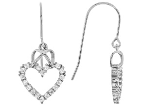 White Cubic Zirconia Rhodium Over Sterling Silver Heart Earrings 0.97ctw