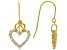 White Cubic Zirconia 18K Yellow Gold Over Sterling Silver Heart Earrings 0.97ctw