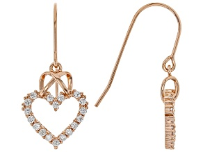 White Cubic Zirconia 18K Rose Gold Over Sterling Silver Heart Earrings 0.97ctw