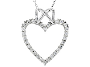 White Cubic Zirconia Rhodium Over Sterling Silver Heart Pendant With Chain 0.75ctw
