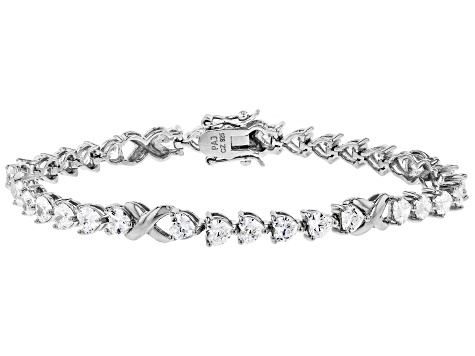 White Cubic Zirconia Rhodium Over Sterling Silver Heart Tennis Bracelet 12.09ctw
