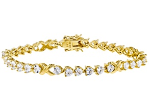 White Cubic Zirconia 18K Yellow Gold Over Sterling Silver Heart Tennis Bracelet 12.09ctw