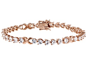 White Cubic Zirconia 18K Rose Gold Over Sterling Silver Heart Tennis Bracelet 12.09ctw