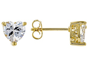 White Cubic Zirconia 18K Yellow Gold Over Sterling Silver Heart Stud Earrings 2.56ctw