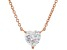 White Cubic Zirconia 18K Rose Gold Over Sterling Silver Heart Necklace 2.85ctw