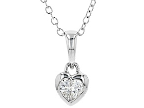 White Cubic Zirconia Rhodium Over Sterling Silver Heart Pendant With Chain 0.37ctw