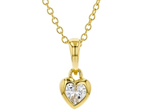 White Cubic Zirconia 18K Yellow Gold Over Sterling Silver Heart Pendant With Chain 0.37ctw