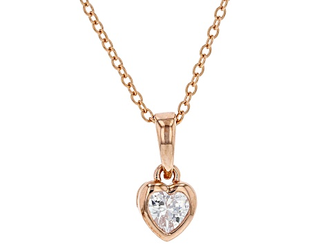 White Cubic Zirconia 18K  Gold Over Sterling Silver Heart Pendant With Chain 0.37ctw