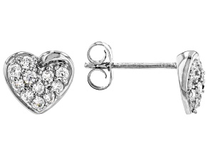 White Cubic Zirconia Rhodium Over Sterling Silver Heart Earrings 0.59ctw