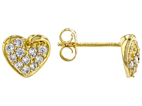 White Cubic Zirconia 18K Yellow Gold Over Sterling Silver Heart Earrings 0.59ctw
