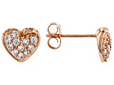 White Cubic Zirconia 18K Rose Gold Over Sterling Silver Heart Earrings 0.59ctw