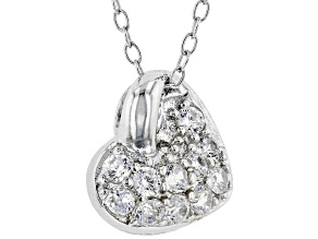 White Cubic Zirconia Rhodium Over Sterling Silver Heart Pendant With Chain 0.46ctw