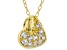 White Cubic Zirconia 18K Yellow Gold Over Sterling Silver Heart Pendant With Chain 0.46ctw
