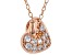 White Cubic Zirconia 18K Rose Gold Over Sterling Silver Heart Pendant With Chain 0.46ctw