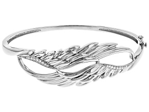White Cubic Zirconia Rhodium Over Sterling Silver Angel Wing Bracelet 0.32ctw