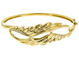 White Cubic Zirconia 18K Yellow Gold Over Sterling Silver Angel Wing Bracelet 0.32ctw