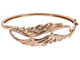 White Cubic Zirconia 18K Rose Gold Over Sterling Silver Angel Wing Bracelet 0.32ctw