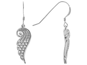 White Cubic Zirconia Rhodium Over Sterling Silver Angel Wing Earrings 0.28ctw