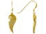 White Cubic Zirconia 18K Yellow Gold Over Sterling Silver Angel Wing Earrings 0.28ctw