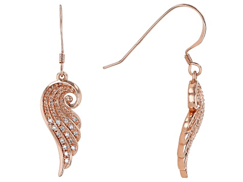 White Cubic Zirconia 18K Rose Gold Over Sterling Silver Angel Wing Earrings 0.28ctw