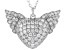 White Cubic Zirconia Rhodium Over Sterling Silver Heart Angel Wing Pendant With Chain 4.05ctw.
