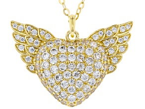 White Cubic Zirconia 18K Yellow Gold Over Silver Heart Angel Wing Pendant With Chain 4.05ctw.